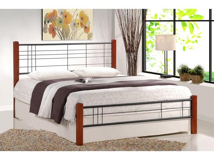SELSEY Łóżko metalowe Meluco 160x200 cm Kolor Brązowy Drewno Kategoria Łóżka do sypialni