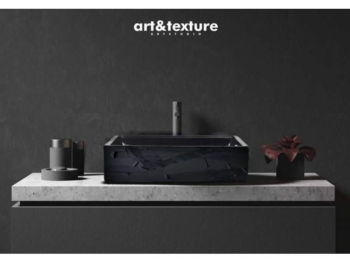 BLACK ELEGANCE - nablatowa umywalka artystyczna ręcznie wykończona Nablatowe Ceramika Szerokość 41 cm Kolor Czarny
