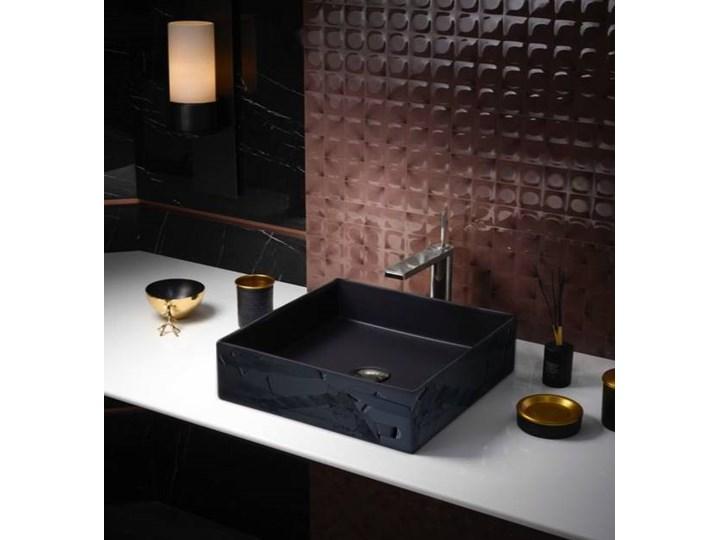 BLACK ELEGANCE - nablatowa umywalka artystyczna ręcznie wykończona Szerokość 41 cm Nablatowe Ceramika Kolor Czarny