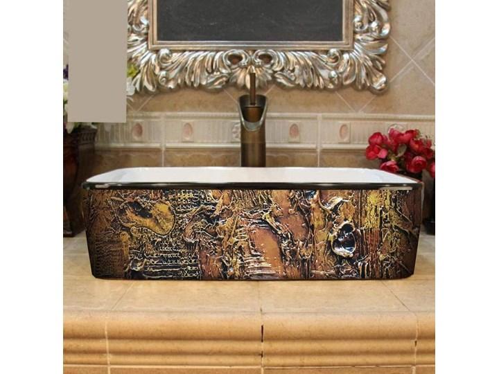 MARRONA- nablatowa umywalka artystyczna ręcznie wykończona Szerokość 41 cm Nablatowe Kolor Brązowy Ceramika Kategoria Umywalki