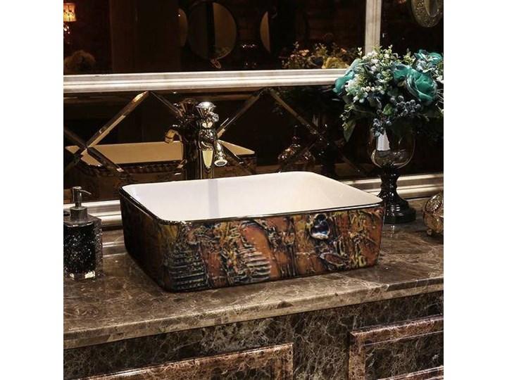 MARRONA- nablatowa umywalka artystyczna ręcznie wykończona Ceramika Szerokość 41 cm Kolor Brązowy Nablatowe Kategoria Umywalki