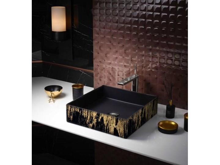GOLDEN RAIN - nablatowa umywalka artystyczna ręcznie wykończona Nablatowe Szerokość 41 cm Ceramika Kolor Złoty Kategoria Umywalki