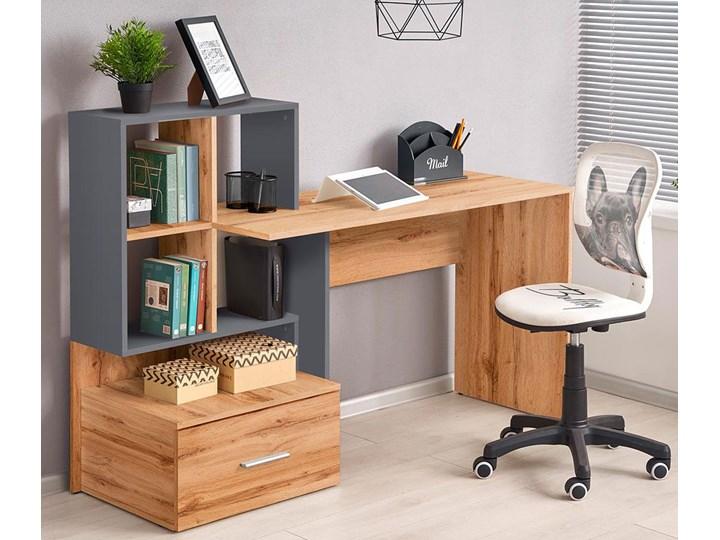 Nowoczesne biurko Olwen - dąb wotan + antracyt Biurko z nadstawką Głębokość 50 cm Szerokość 149 cm Styl Skandynawski