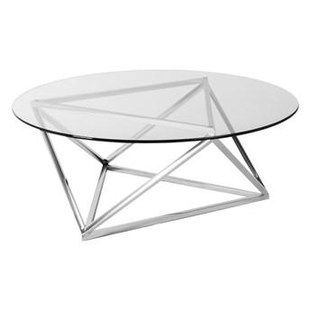 Nowoczesny okrągły szklany stolik osadzony na geometrycznej podstawie 105x36 cm C032