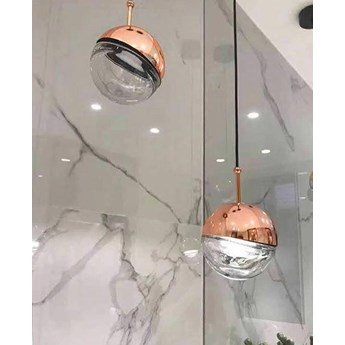 Lampa wisząca HALF miedziana - szkło, aluminium