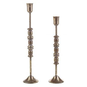 Zestaw 2 świeczników metalowy złoty SALAMINA kod: 4251682255363