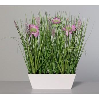 Kompozycja z Polnych Kwiatów w Doniczce Prostokątnej 37 cm - Różowa
