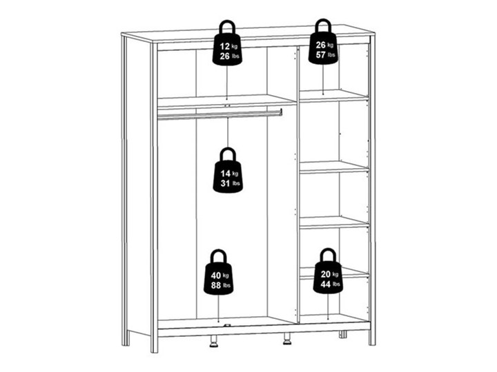Trzydrzwiowa szafa ubraniowa w kolorze czarnym Madrid 3D Szerokość 150 cm Głębokość 58 cm Wysokość 199 cm Ilość drzwi Trzydrzwiowe