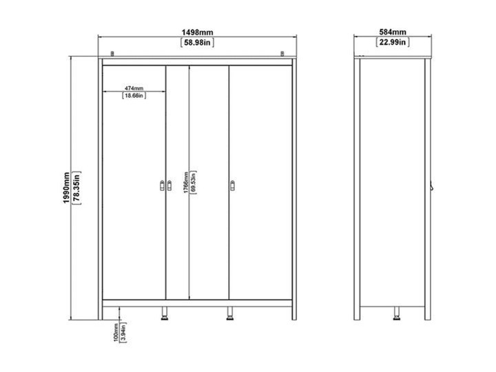 Trzydrzwiowa szafa ubraniowa w kolorze czarnym Madrid 3D Głębokość 58 cm Szerokość 150 cm Wysokość 199 cm Ilość drzwi Trzydrzwiowe Kategoria Szafy do garderoby