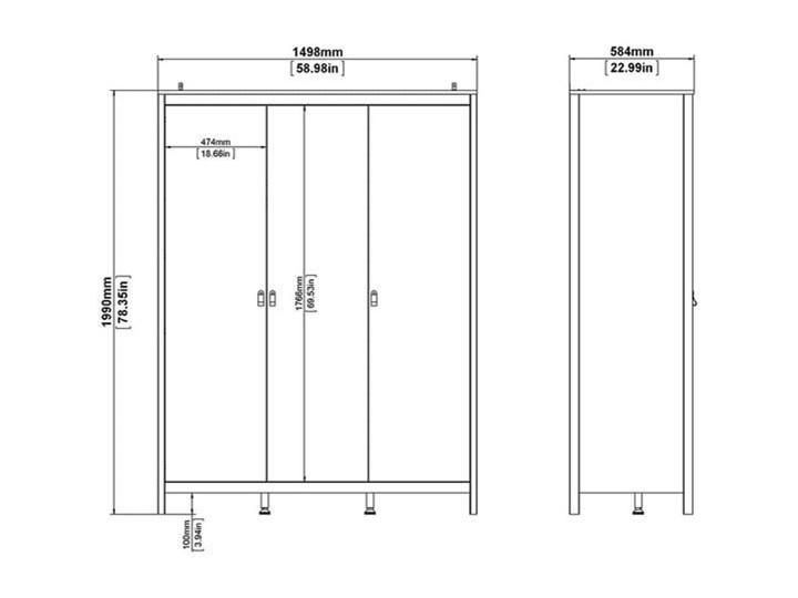 Trzydrzwiowa szafa ubraniowa na nóżkach Madrid 3D biały mat Wysokość 199 cm Głębokość 58 cm Szerokość 150 cm Ilość drzwi Trzydrzwiowe Kategoria Szafy do garderoby