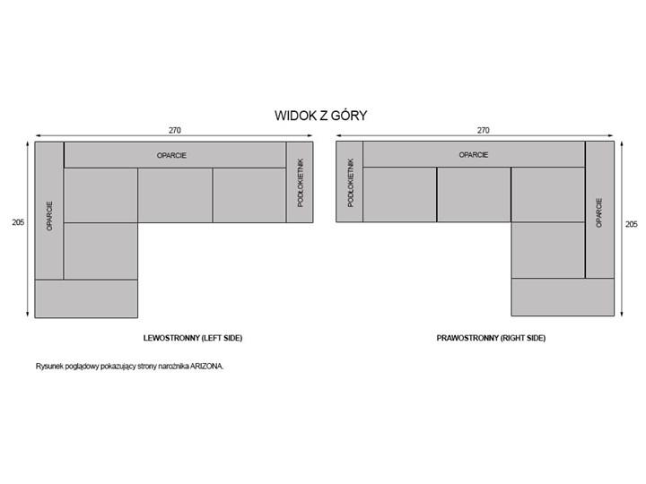 NOWOCZESNY NAROŻNIK WYPOCZYNKOWY ARIZONA - KOLORY DO WYBORU PRAWY/LEWY W kształcie L Szerokość 270 cm Wysokość 80 cm Strona Lewostronne