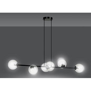 ROSSI 6 BL TRANSPARENT 874/6 lampa sufitowa wisząca czarna transparentne klosze