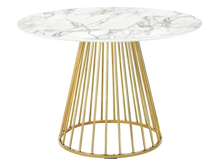 Stół GLAM MARBLE - MDF, złota podstawa Płyta MDF Metal Długość 100 cm Kolor Biały Wysokość 75 cm Marmur Styl Glamour