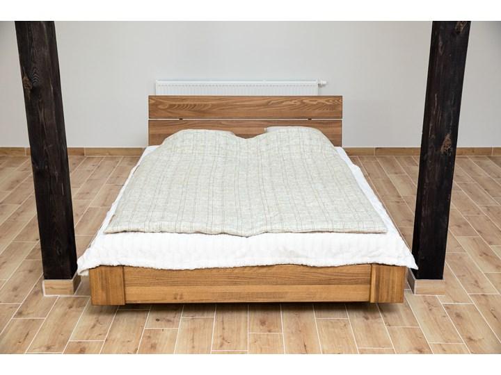 Beriet łóżko z drewna bukowego lewitujące 140x200 cm, wybarwienie orzech (OR) Kolor Szary Łóżko drewniane Pojemnik na pościel Z pojemnikiem