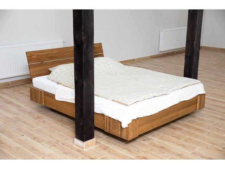 Beriet łóżko z drewna bukowego lewitujące 140x200 cm, wybarwienie orzech (OR) Łóżko drewniane Pojemnik na pościel Z pojemnikiem Rozmiar materaca 140x210 cm