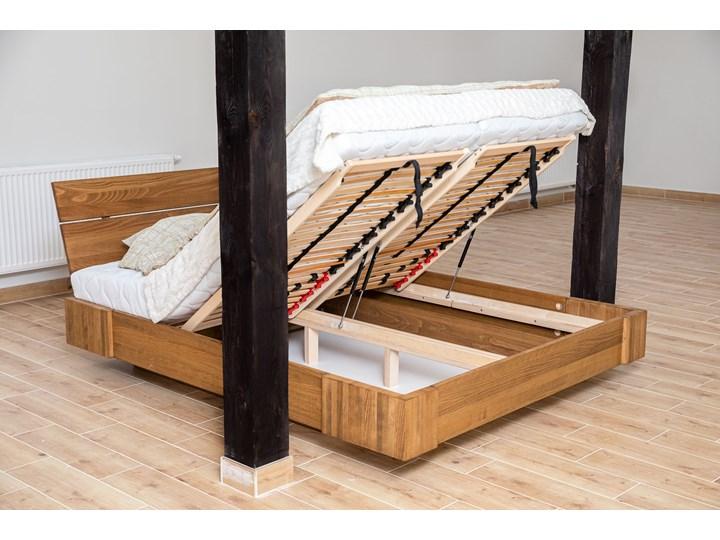 Beriet łóżko z drewna bukowego lewitujące 140x200 cm, wybarwienie orzech (OR) Łóżko drewniane Pojemnik na pościel Z pojemnikiem