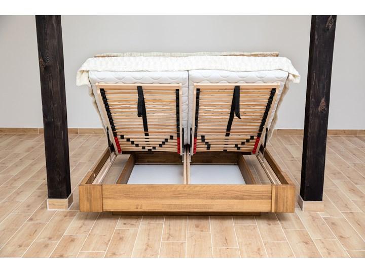 Beriet łóżko z drewna bukowego lewitujące 140x200 cm, wybarwienie orzech (OR) Kategoria Łóżka do sypialni Łóżko drewniane Pojemnik na pościel Z pojemnikiem
