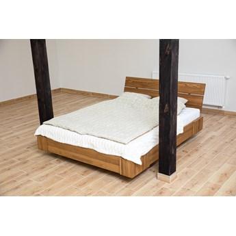 Zestaw: Beriet łóżko+2 szafki nocne z drewna bukowego lewitujące 160x200 cm, wybarwienie orzech (OR)