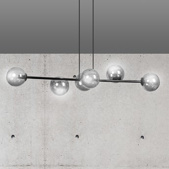 ROSSI 6 BL GRAFIT 875/6 lampa sufitowa wisząca czarna szklane klosze DESIGN