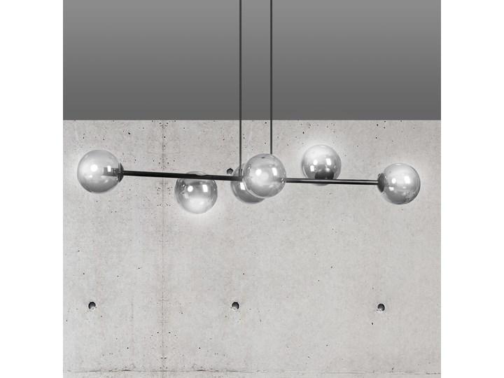 ROSSI 6 BL GRAFIT 875/6 lampa sufitowa wisząca czarna szklane klosze DESIGN Metal Szkło Lampa z kloszem Kolor Czarny Lampa LED Styl Klasyczny