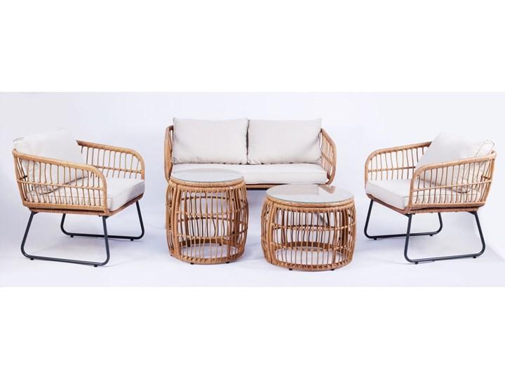 Beżowe meble ogrodowe ze sztucznego rattanu Le Bonom Vistdal Zestawy wypoczynkowe Zawartość zestawu Sofa Tworzywo sztuczne Stal Stoły z krzesłami Kategoria Zestawy mebli ogrodowych