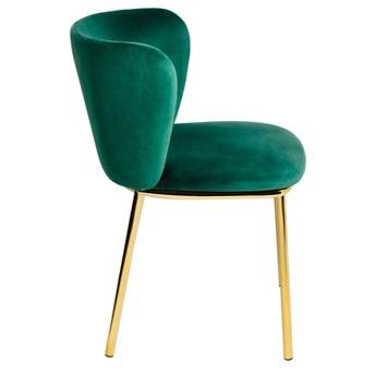 Krzesło MANTIS  zielony aksamit , nogi złote