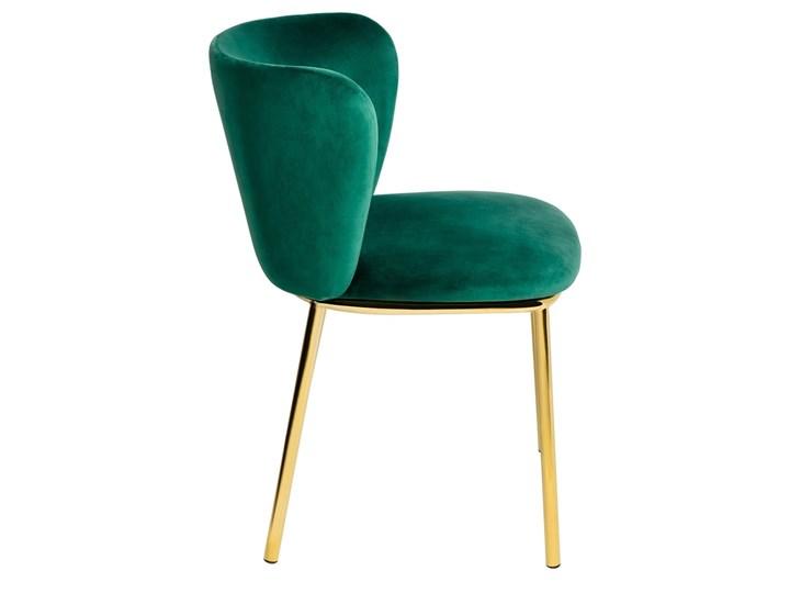 Krzesło MANTIS  zielony aksamit , nogi złote Głębokość 53 cm Szerokość 55 cm Wysokość 76 cm Welur Kolor Złoty Tkanina Tapicerowane Metal Kategoria Krzesła kuchenne
