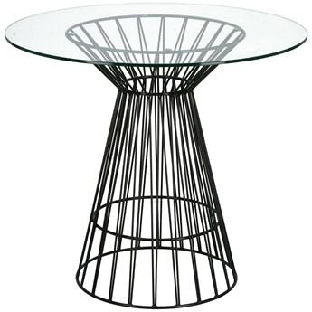 Szklany stół Cage na drucianej podstawie metalowej
