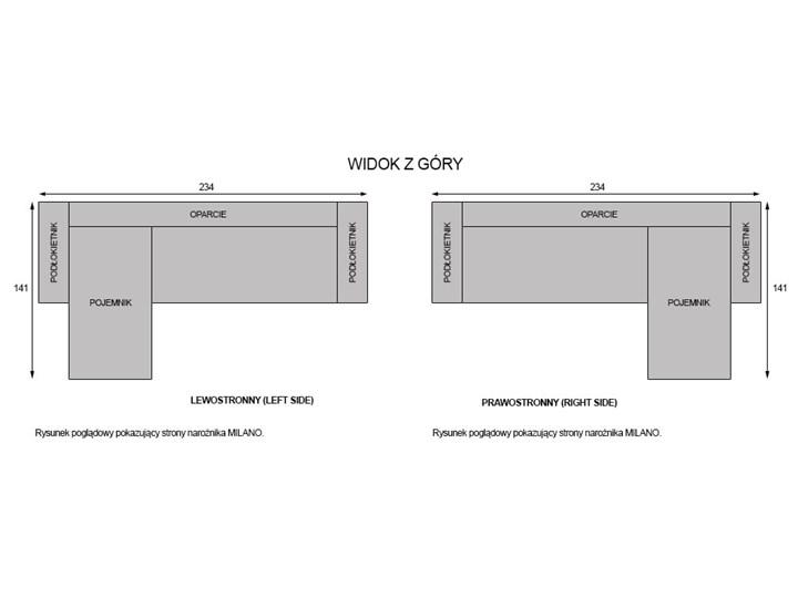 NOWOCZESNY NAROŻNIK WYPOCZYNKOWY Z POJEMNIKIEM - MILANO - TKANINA VELUTTO W kształcie L Szerokość 234 cm Stała konstrukcja Wysokość 99 cm Typ Gładkie