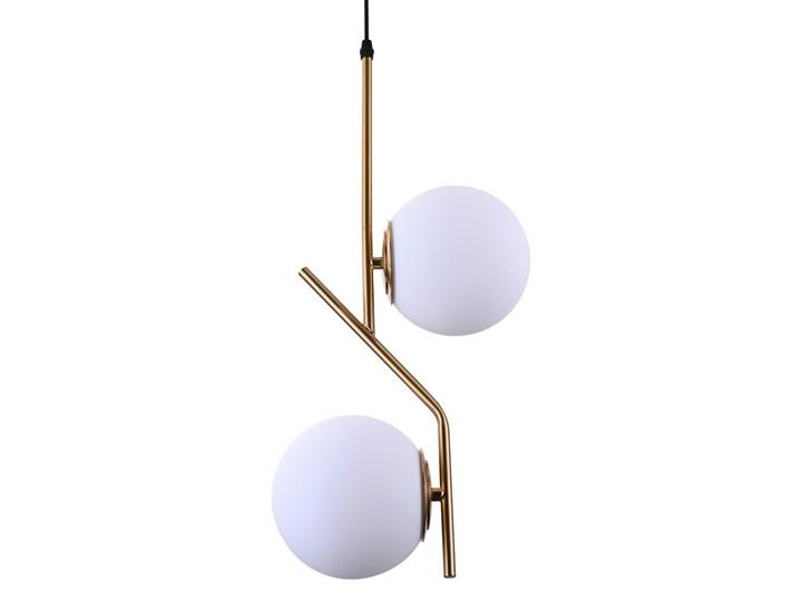 NOWOCZESNA LAMPA WISZĄCA BIAŁA BIENARI D15 Metal Lampa z abażurem Szkło Mosiądz Lampa z kloszem Styl Nowoczesny