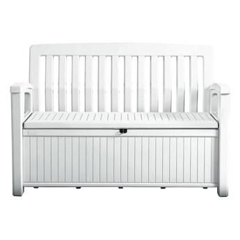 Biała ławka ogrodowa ze schowkiem Keter