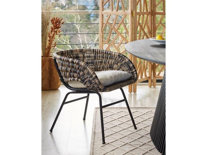 Fotel Lin 66x69 cm naturalno-czarny Kolor Brązowy Metal Wysokość 66 cm Głębokość 66 cm Rattan Styl Nowoczesny