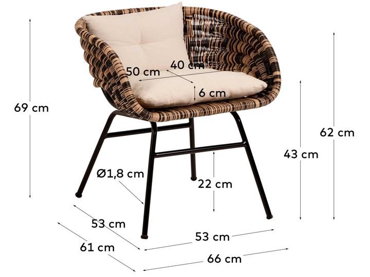Fotel Lin 66x69 cm naturalno-czarny Rattan Metal Głębokość 66 cm Wysokość 66 cm Kolor Beżowy Kategoria Fotele do salonu
