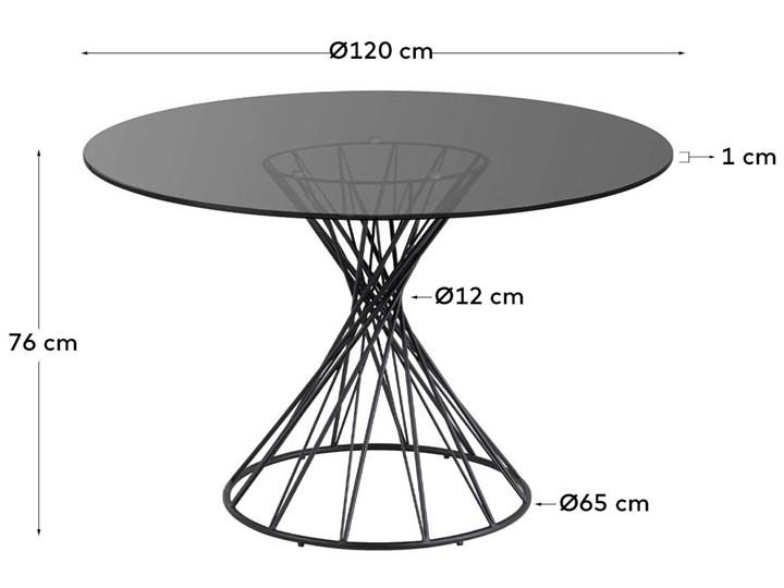 Stół Niut ∅120 cm czarny blat szklany Szkło Metal Pomieszczenie Stoły do jadalni