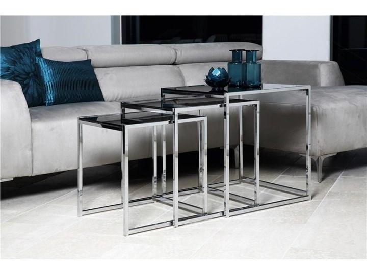 Zestaw trzech stolików kawowych Eby czarne nogi srebrne Kolor Srebrny Typ Zestawy