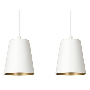 MILGA 2 WHITE-GOLD 414/2 nowoczesna lampa wisząca biała środek złoty