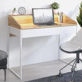 Nowoczesne biurko FINKA z oświetleniem / blat Jesion Górski, szuflada Biel Arktyczna, stelaż biały