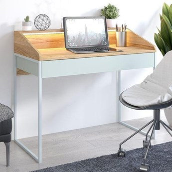 Nowoczesne biurko FINKA z oświetleniem / blat Jesion Górski, szuflada Pastel Green, stelaż szary