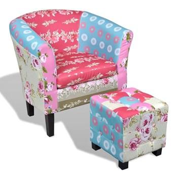 Klubowy fotel w stylu patchwork z podnóżkiem Cadis 3X