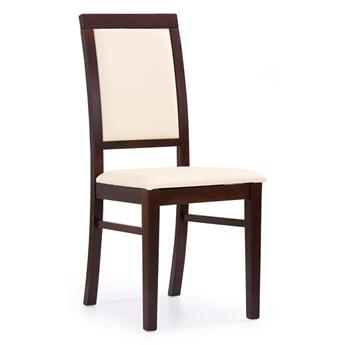 Drewniane krzesło Prince - Ciemny orzech + kremowa ekoskóra