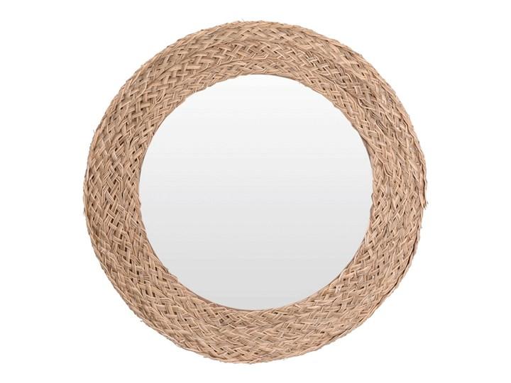 Okrągłe lustro Eraje - naturalne Lustro z ramą Kolor Beżowy Ścienne Pomieszczenie Salon