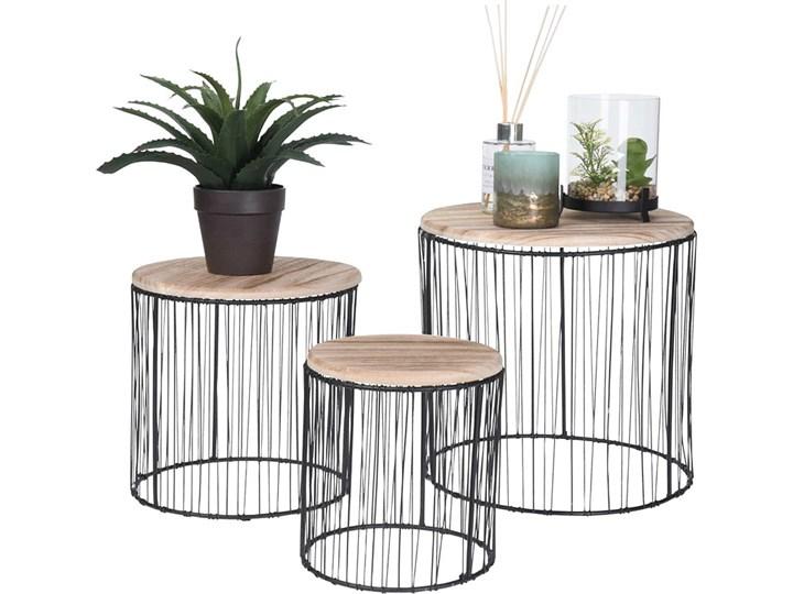 Zestaw drucianych stolików kawowych Samuel - loftowe Zestaw stolików Wysokość 28 cm Kolor Czarny