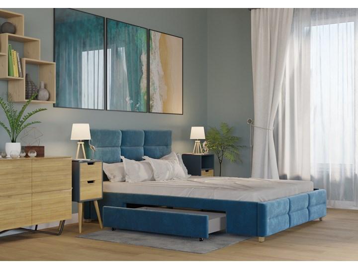 ŁÓŻKO 160x200 z 2 SZUFLADAMI - BERGAMO WELUR LAZUROWE Łóżko tapicerowane Kolor