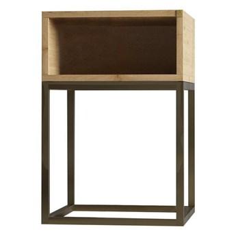 Szafka nocna stolik nocny BOX na wymiar drewno lite stelaż metalowy czarny