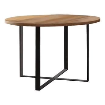 Stół okrągły TONY I na wymiar drewno lite stelaż metalowy czarny