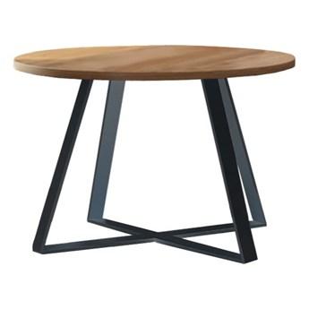 Stół okrągły TONY III na wymiar drewno lite stelaż metalowy czarny