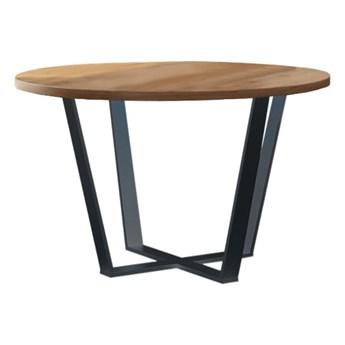 Stół okrągły TONY V na wymiar drewno lite stelaż metalowy czarny