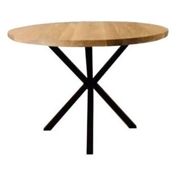 Stół okrągły Klara do salonu jadalni w stylu loft drewniany metalowy