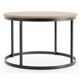 Stolik kawowy okrągły do salonu drewno lite konstrukcja metalowa