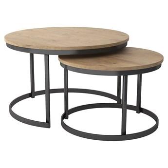 Zestaw stolików kawowych 2w1 Marco drewno lite metal